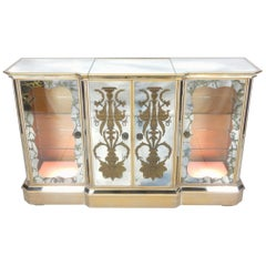 1950s French Mirrored Eglomise Dry Bar Cabinet
