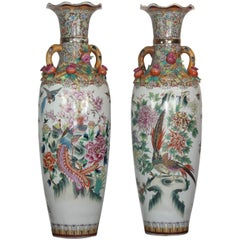 Pair of Large Chinese Temple Vase