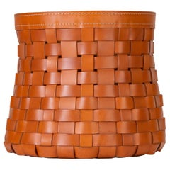 """Intrecci"" Round Basket in Woven Leather by Arte Cuoio & Triangolo"