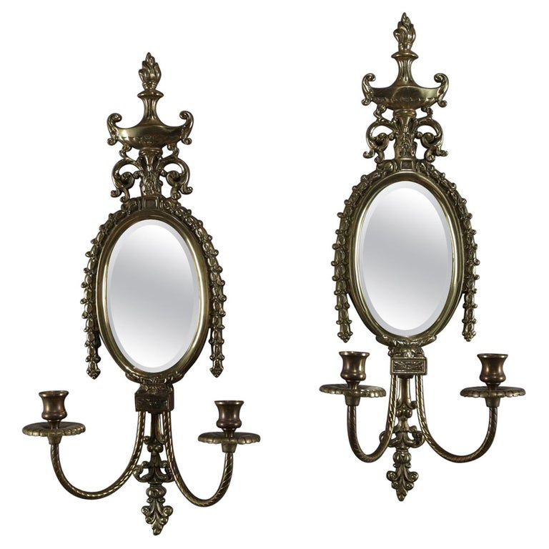 Pair of French Neoclassical Mirrored Brass Flaming Urn Candle Wall Sconces