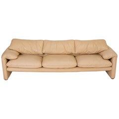"""Leather """"Maralunga"""" Sofa by Vico Magistretti for Cassina"""