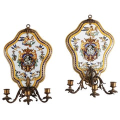 Pair of Majolica School Hand-Painted Faience Pottery Candle Wall Sconces by Gien