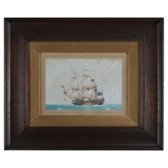 English Nautical Maritime Mixed-Media Painting of Schooner, Signed, circa 1890
