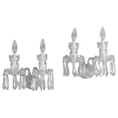 Pair of Irish Cut Crystal Waterford Avoca Double Light Sconces, circa 1950