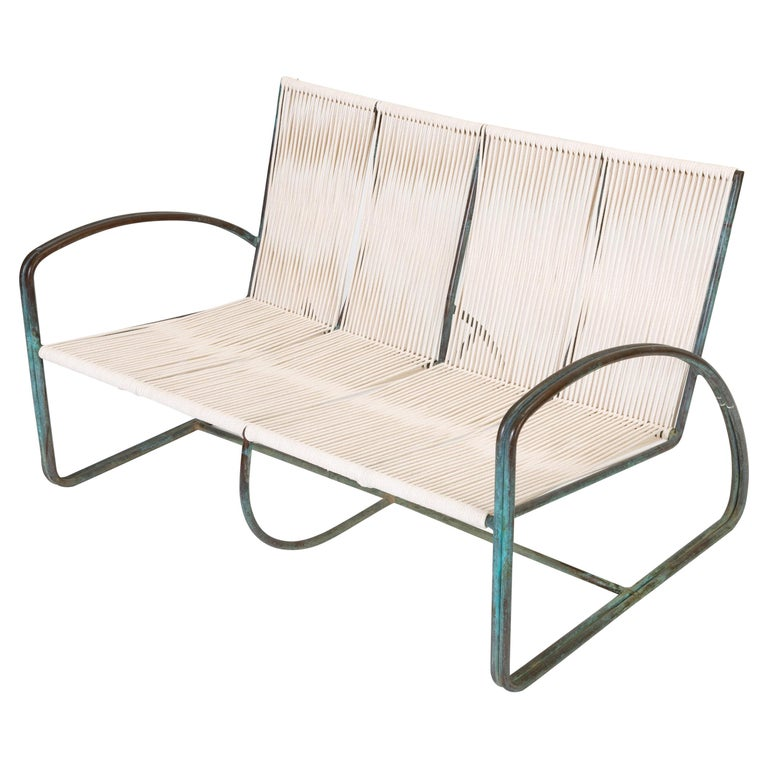Walter Lamb Bronze Patio Settee by Brown Jordan
