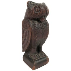 Folk Art Carved Wood Owl Sculpture