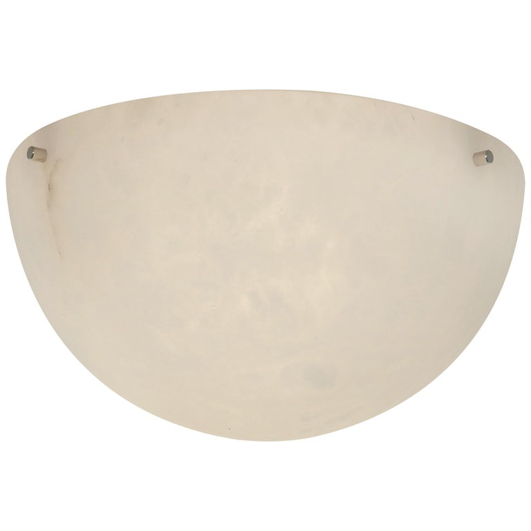 'Moon' Alabaster Ceiling or Wall Lamp in the Manner of Pierre Chareau