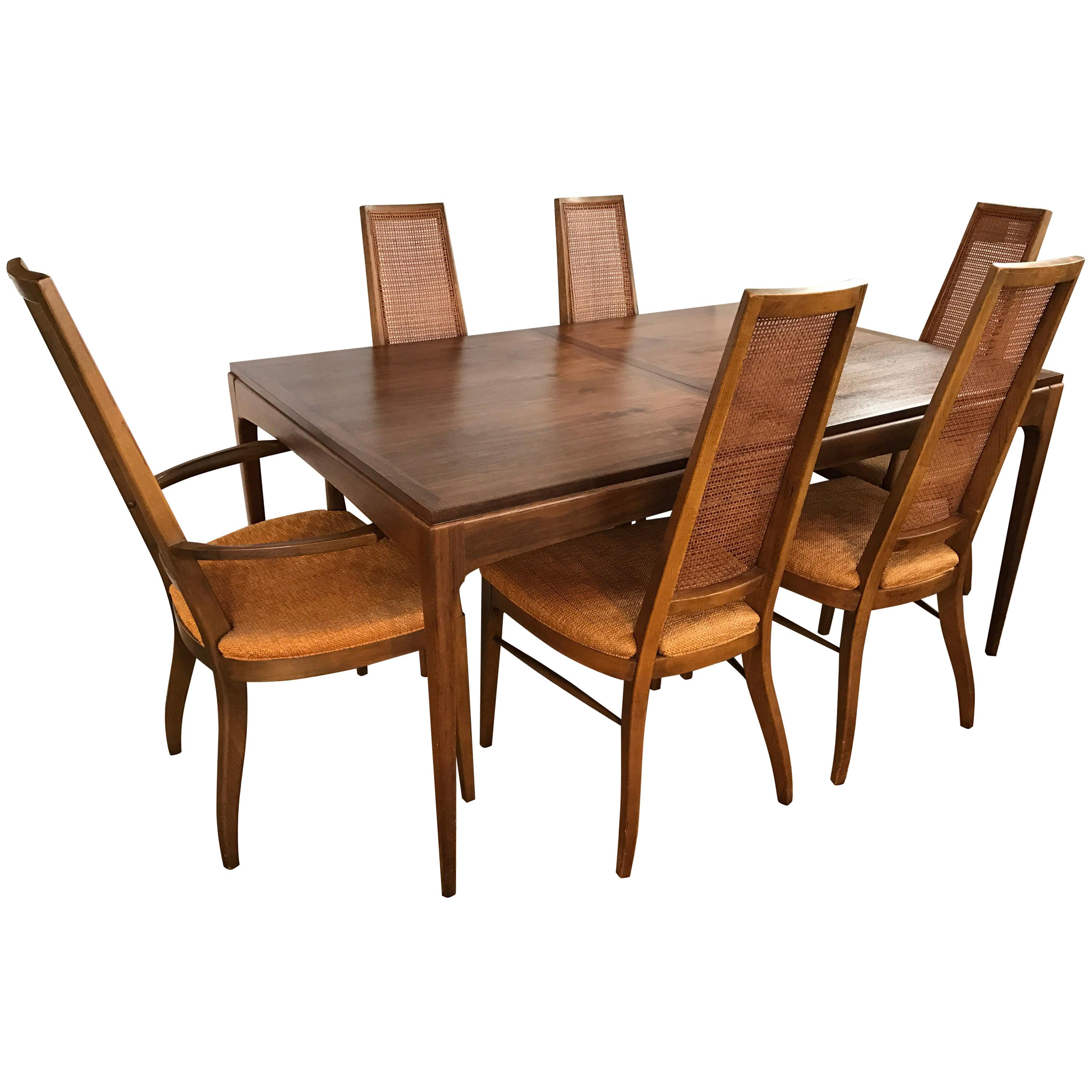Beau Midcentury Lane Altavista Alta Vista Dining Set Table And Six Matching  Chairs For Sale