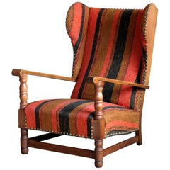 Danish 1930s Midcentury Country Style Wingback Armchair in Solid Oak