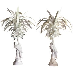 Pair of White Painted Tole and Plaster Parrot Lamps, Midcentury