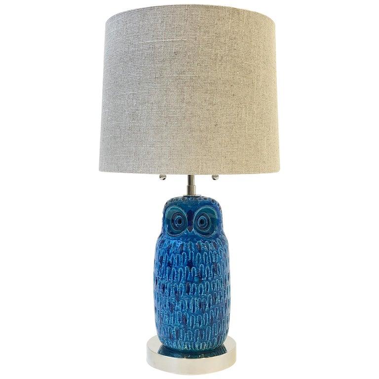 Italian Ceramic and Nickel Owl Table Lamp by Aldo Londi for Bitossi
