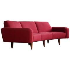 Large Danish 1960s Illum Wikkelso Designed Curved Sofa Model 450 for Aarhus