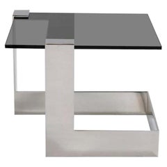 Donghia Anchor Square Occasional Table with Steel Base & Gray Glass Top