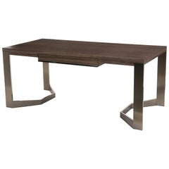 Donghia Rex Desk in Zebrano Wood with Stainless Steel Base
