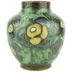 Art Deco Keramis Boch Dark Green Vase with Flower Motifs