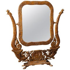 20th Century Beech Wood French Art Nouveau Style Cheval Mirror, 1960
