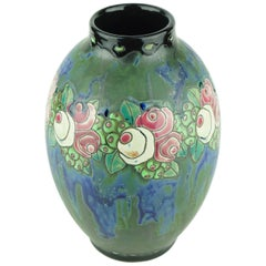 Art Deco Keramis Boch Stoneware Blue Gres Vase