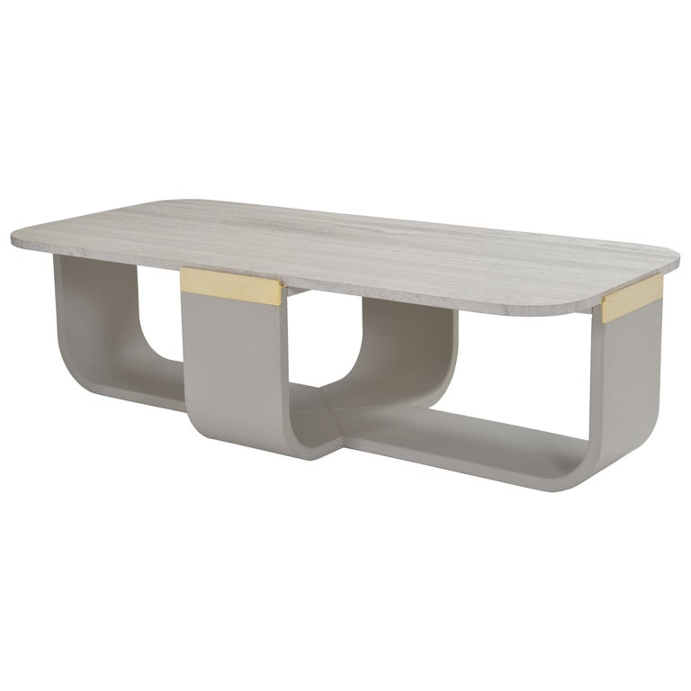Donghia Bezel Cocktail Table, Gray Leather Base and Stone Top