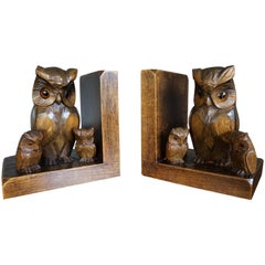 Early 20th Century Art Deco Era Bookends W. Hand Carved Family of Owl Sculptures