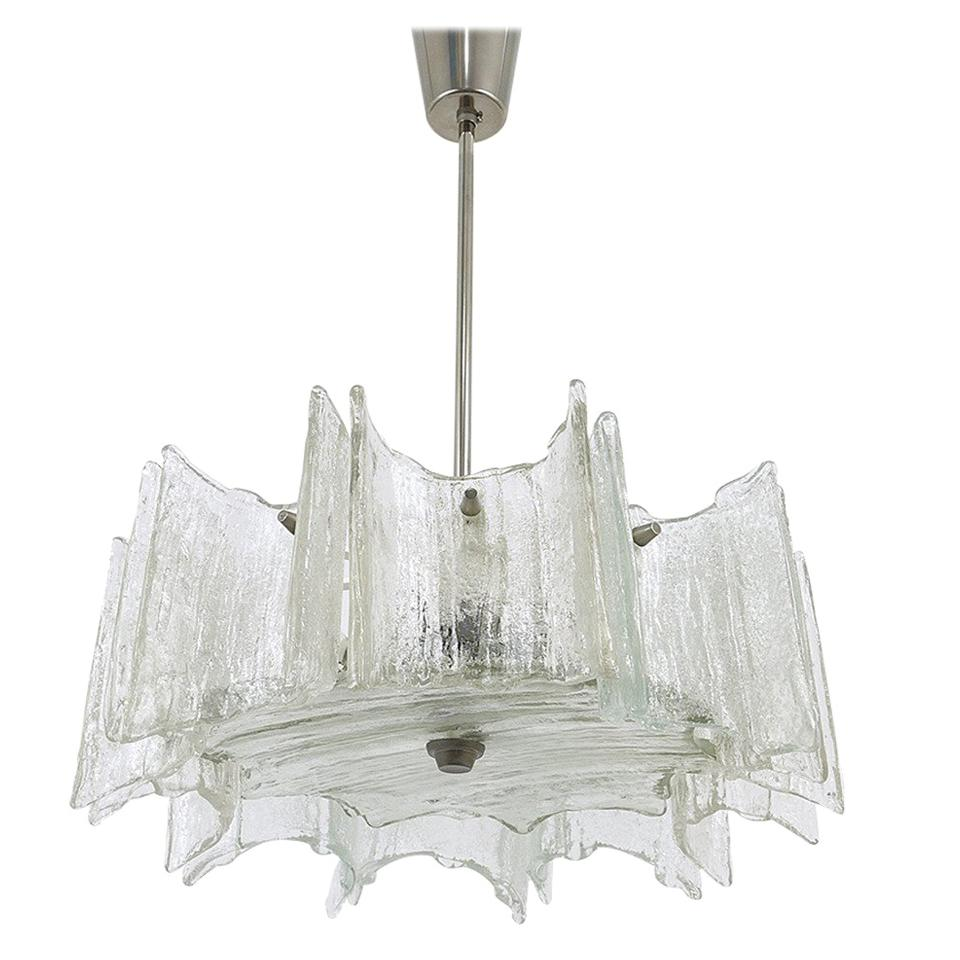 Midcentury Kalmar Star Frosted Glass Chandelier, Austria, 1960s
