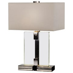 Donghia Clara Table Lamp and Shade, Clear Murano Glass with Black Nickel Base