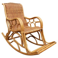1980s Spanish Bamboo and Laced Wicker Rocking Chair
