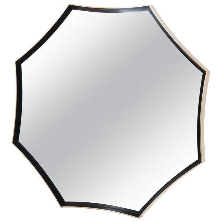 Donghia Cusp Octagonal Mirror with Brass Frame and Hand-Applied Patina