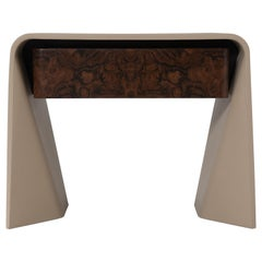 Donghia Tendu Leather End Table in Tortora Leather and Wood