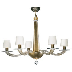 Donghia Stellare Tall Chandelier, Murano Glass in Gold Dust with Drum Shades