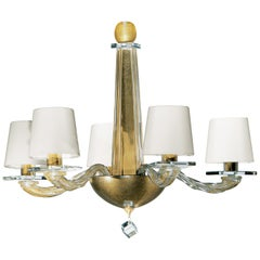 Donghia Stellare Piccolo Chandelier, Murano Glass in Gold Dust with Drum Shades