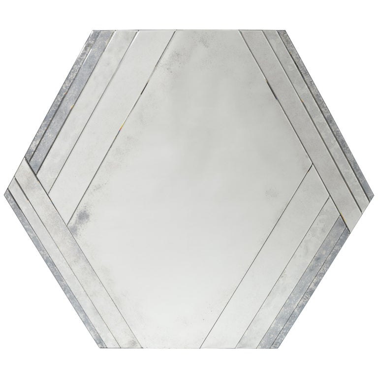 Donghia Ether Mirror in Clear Glass with Antiqued Finish