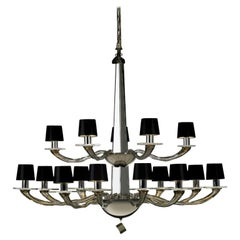 Donghia Stellare Grande Chandelier, Murano Glass in Gray with Drum Shades