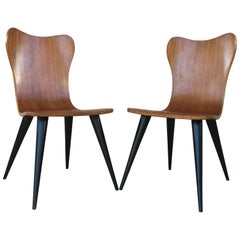 Pair of Midcentury Arne Jacobsen Style Chairs with Black Tapered Legs