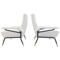 Pair of Italian Armchairs, Italy, circa 1970s New Upholstered