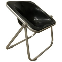 1969, Giancarlo Piretti for Castelli, Very Rare Black Plona Folding Deck Chair