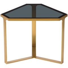 Donghia Forma Table with Satin Brass Base and Gray Glass Top