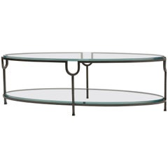 Donghia Inyo Cocktail Table with Glass Top and Glass Shelf