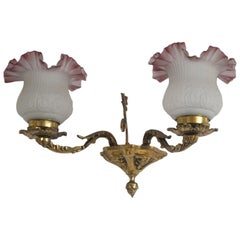 French Art Nouveau Bronze Two-Arm Wall Sconce with Frosted Glass Shades