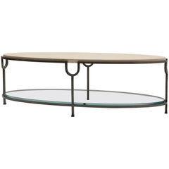 Donghia Inyo Cocktail Table with Marble Top and Glass Shelf