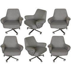 Set of Six White and Grey Formanova Swivel Armchairs, 1970s