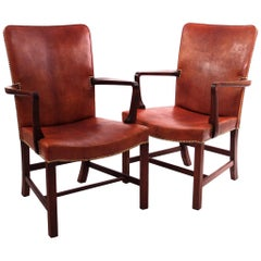 Pair of Kaare Klint 'Nørrevold' Armchairs in Patinated Niger Leather