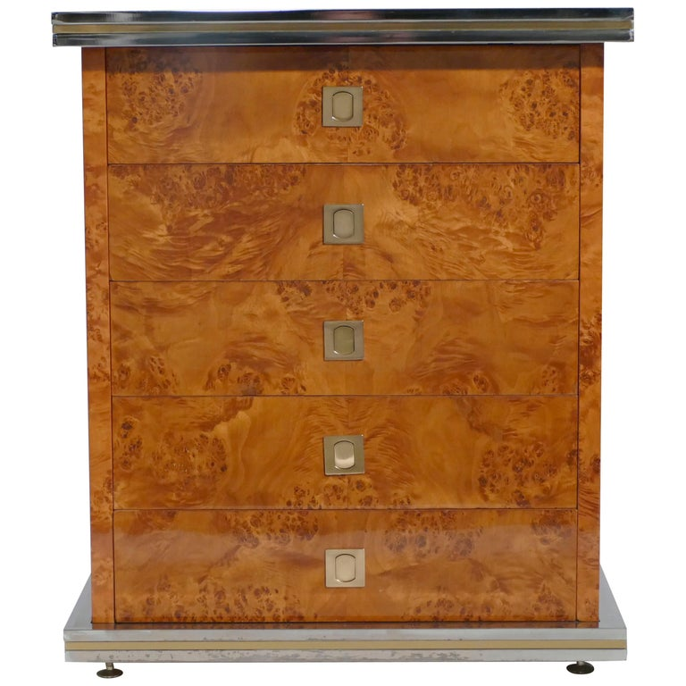 Willy Rizzo Burl Brass Chest of Drawers, 1970s