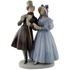 "Large Royal Copenhagen Figurine, ""Evening walk in Tivoli gardens"""