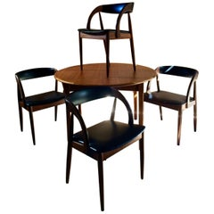 Kai Kristiansen Round Dining Table & Four Dining Chairs Midcentury Danish 1970s