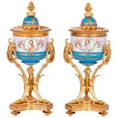 Pair of 19th Century Sèvre Style Gilt Bronze and Porcelain Vases