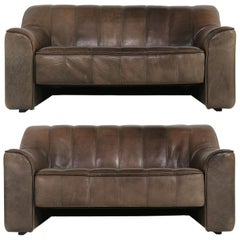 Pair of 1970s Vintage De Sede DS 44 Two-Seat Buffalo Leather Sofas, Brown