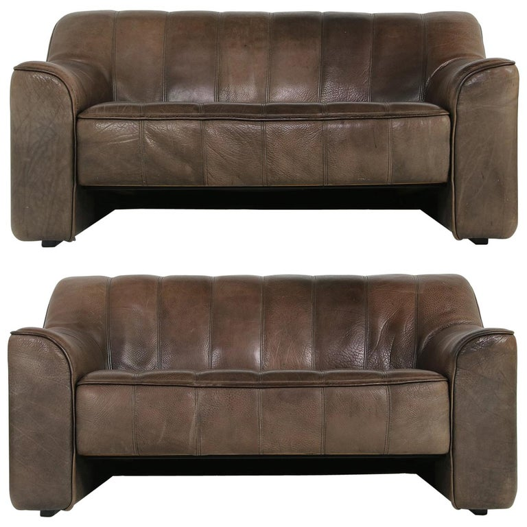 Pair Of 1970s Vintage De Sede Ds 44 Two Seat Buffalo Leather Sofas Brown