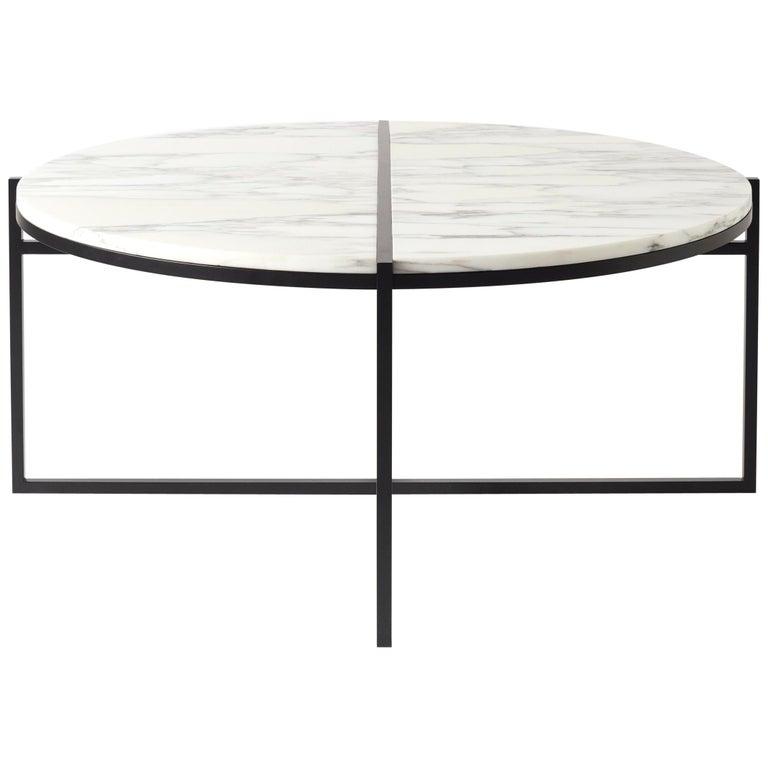 Contemporary Coffee Table Bianco Arabescato Marble Minimalist Modern Unique