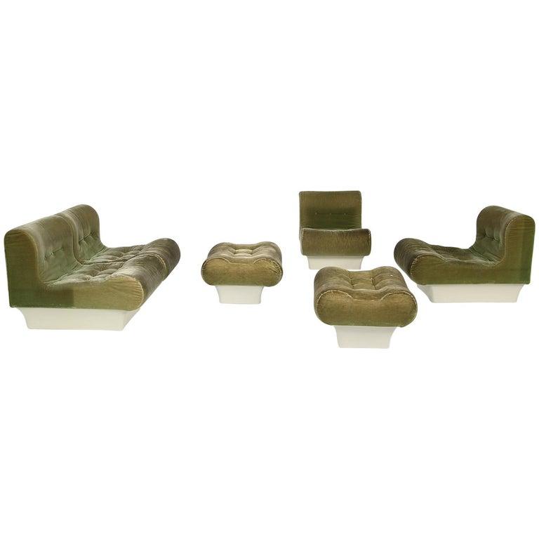 Vintage 1960s Otto Zapf Modular Sofa & Lounge Chair Living Room Set, Mohair