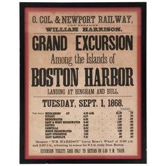 1868 Boston Harbor Island Cruise Broadside Poster